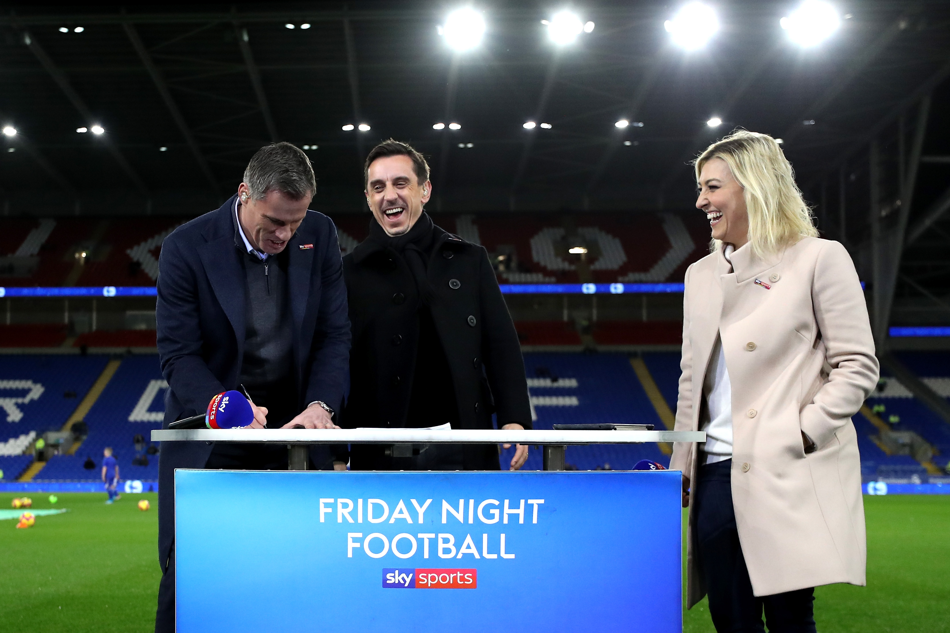 Kelly Cates, Jamie Carragher and gary Neville.