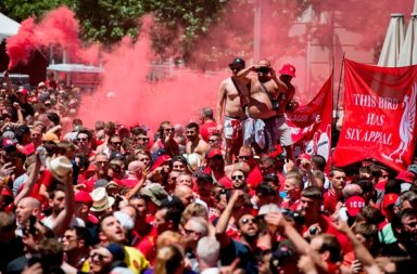 Liverpool fans in Madrid.