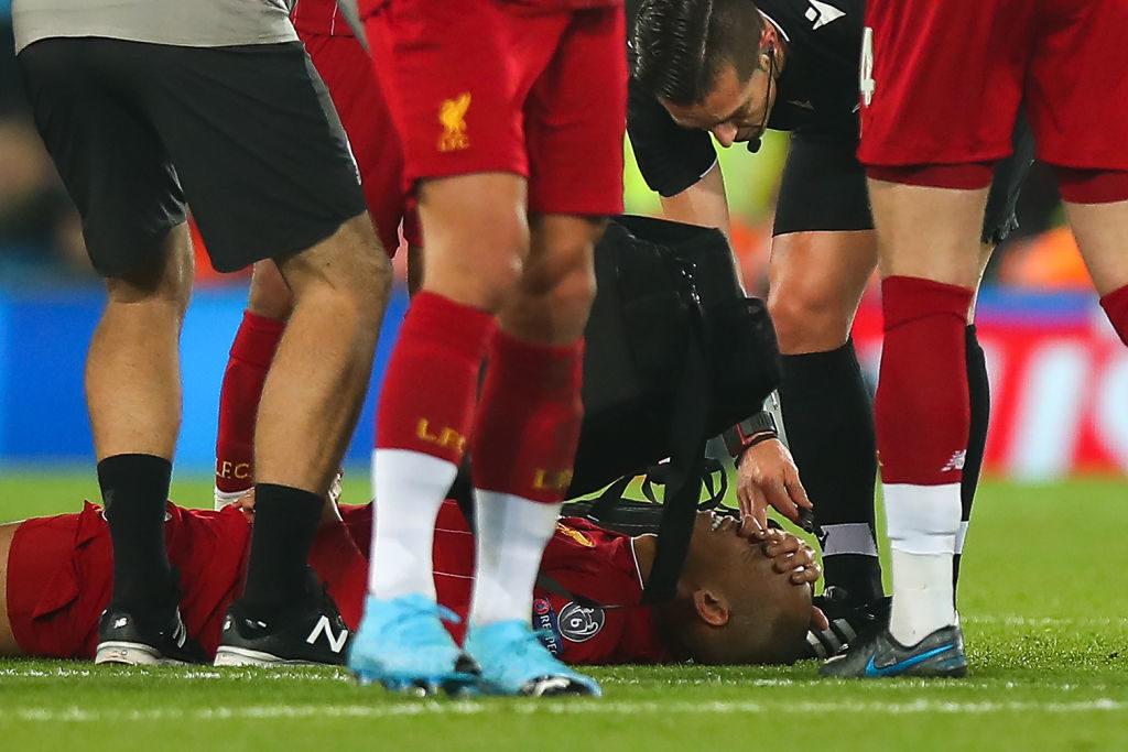 Fabinho suffered an injury against Napoli in November.
