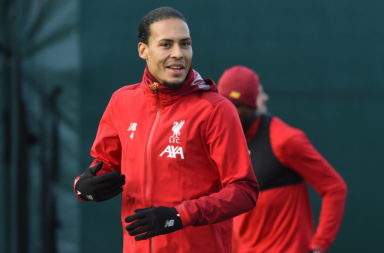 Virgil van Dijk is in the Liverpool lineup to face Leicester City.