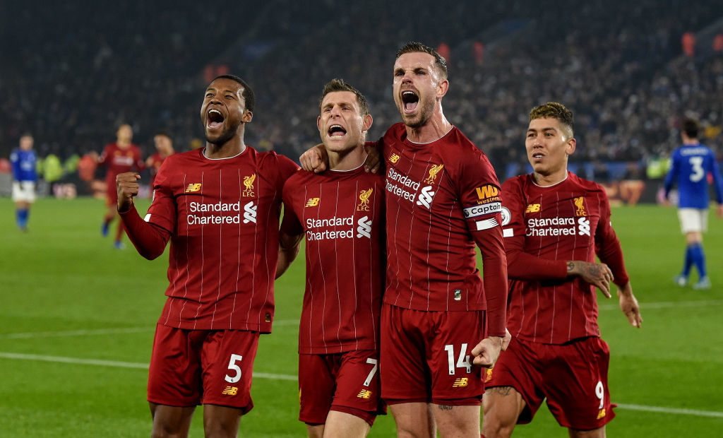 Liverpool players celebrate v Leicester City