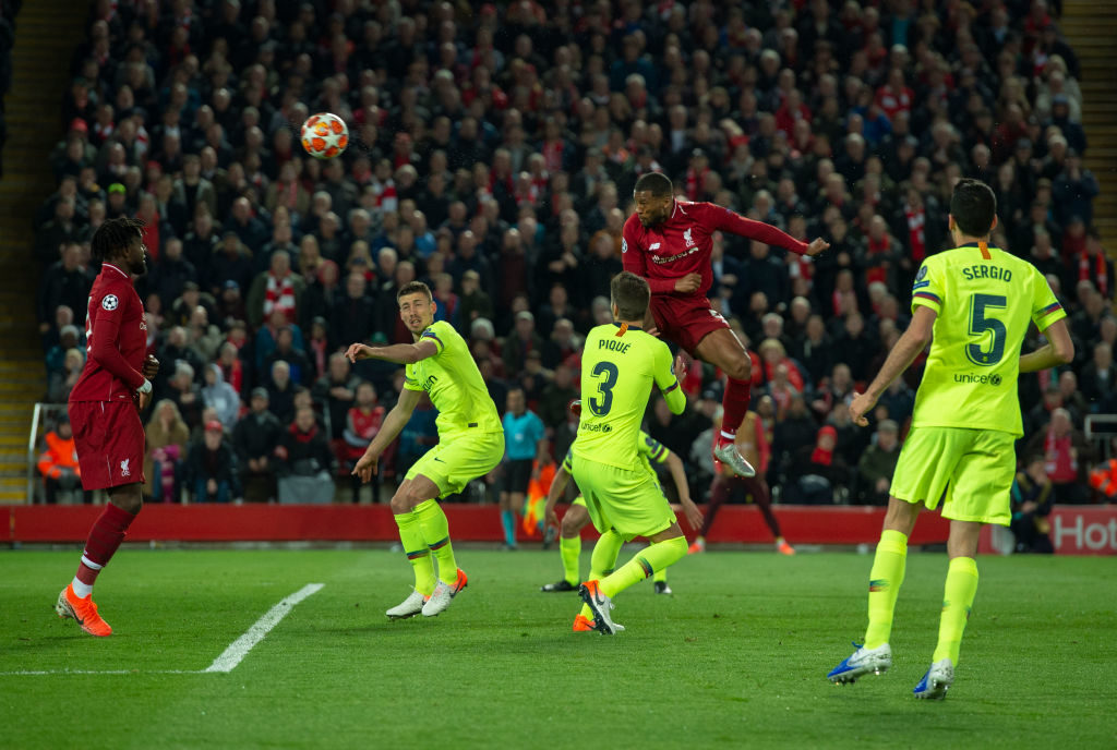 Gini Wijnaldum scores his second goal against Barcelona.