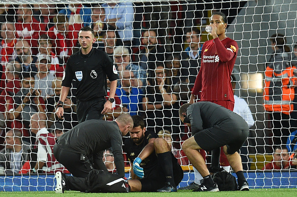 Alisson picked up an injury against Norwich that kept him out for seven games.