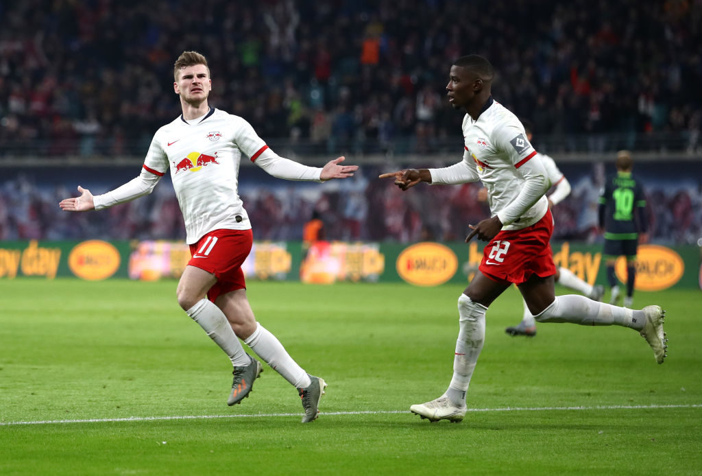 Timo Werner celebrates scoring against Union Berlin.