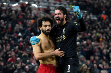 Alisson channeled Pepe Reina for his celebration against Manchester United.