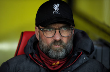 Jurgen Klopp watched Liverpool lose 3-0 to Watford.