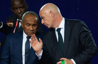 CAF President Ahmad Ahmad and FIFA President Gianni Infantino at AFCON 2019
