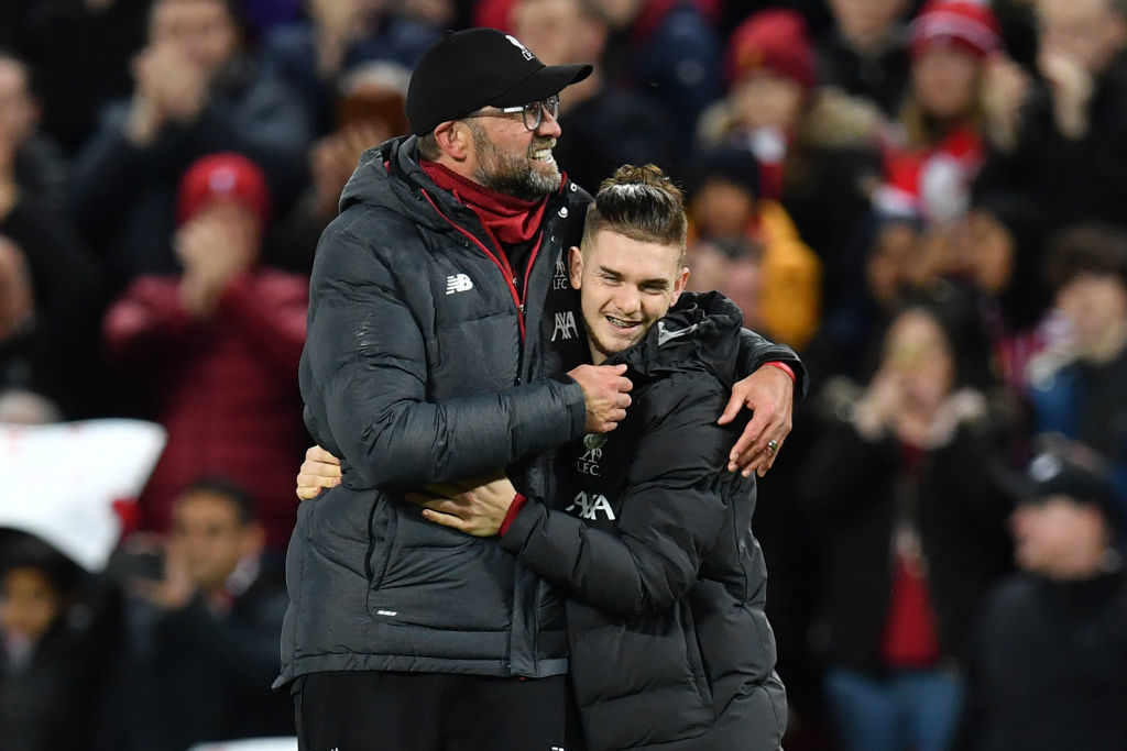 Jurgen Klopp with Harvey Elliott.