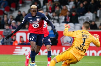 Victor Osimhen in action against Lyon.