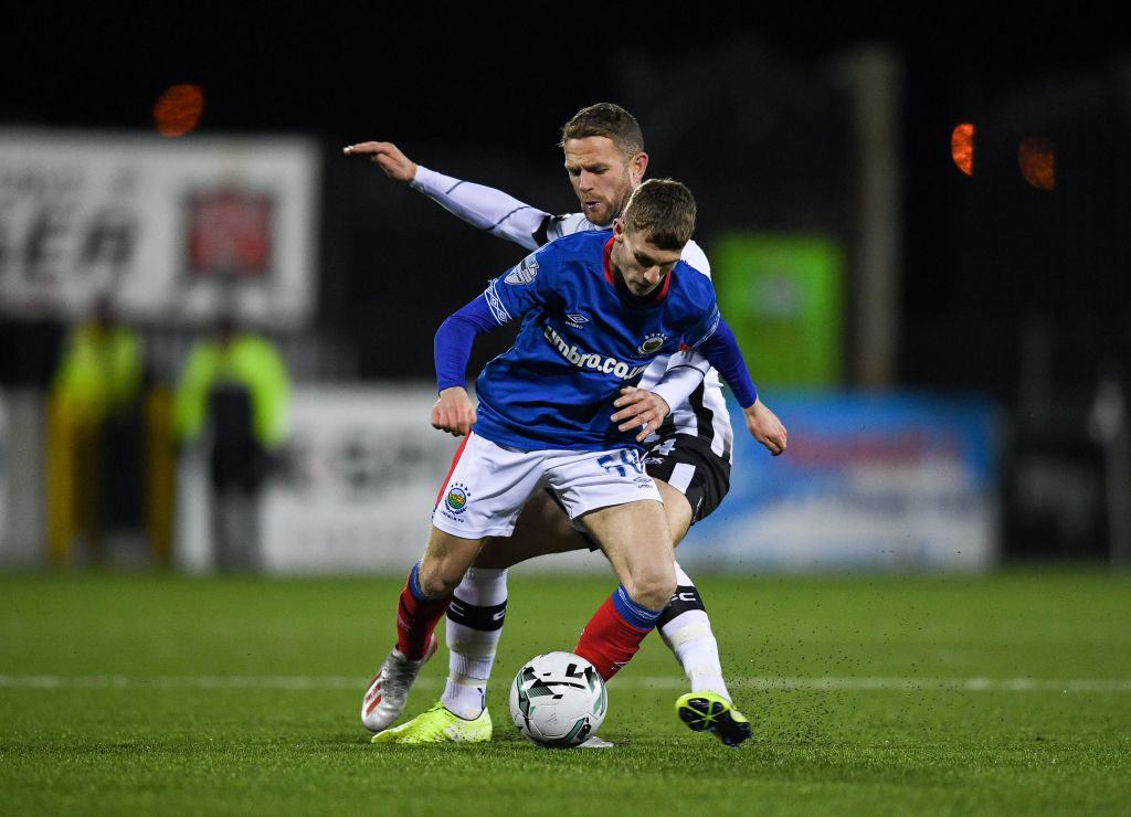 Charlie Allen in action for Linfield.