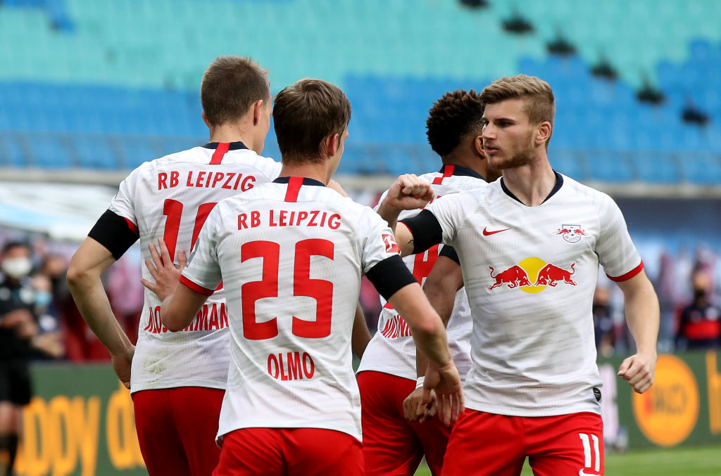 Timo Werner celebrates against Hertha BSC.