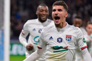 Houssem Aouar celebrates v Marseille.