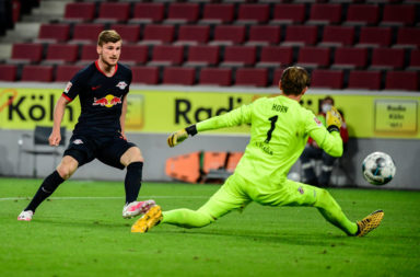 Timo Werner scores against FC Koln.