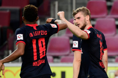 Timo Werner celebrates his goal against FC Koln.