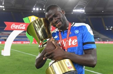 Kalidou Koulibaly with the Coppa Italia.