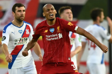 Fabinho celebrates scoring against Crystal Palace.