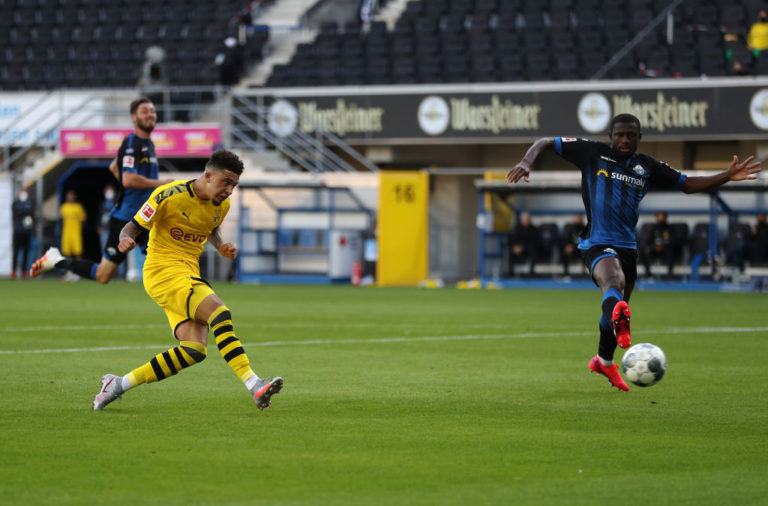Jadon Sancho scores against Paderborn.