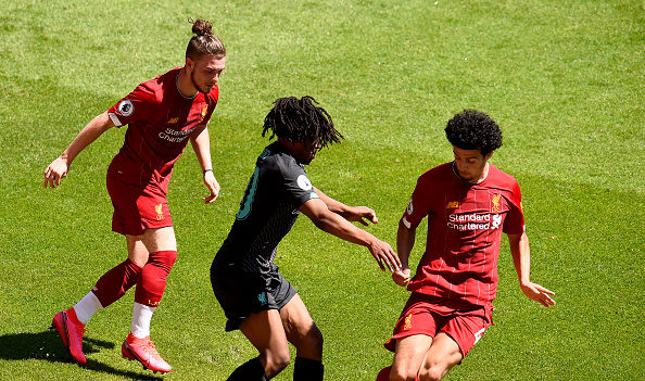 Harvey Elliott, Yasser Larouci and Curtis Jones in Liverpool training.