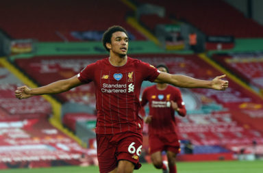 Trent Alexander-Arnold celebrates his goal against Crystal Palace.