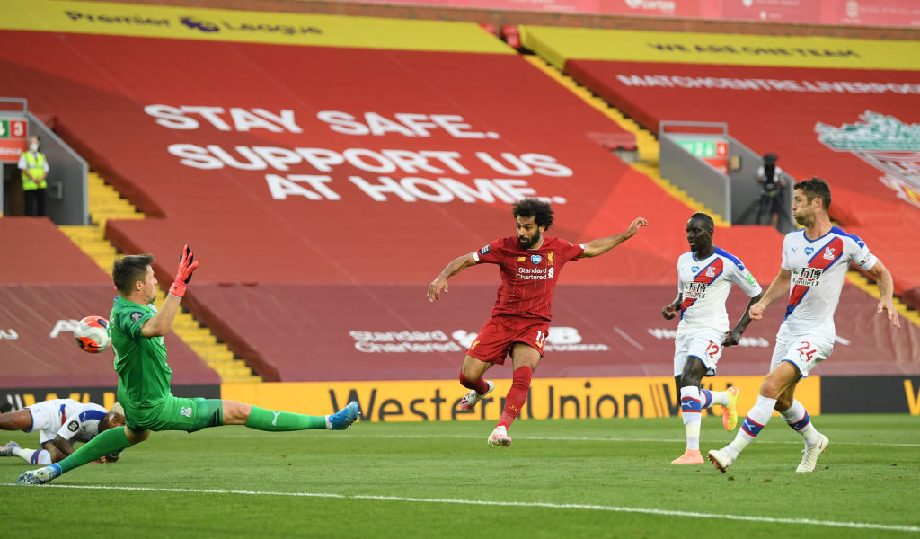 Mohamed Salah scores against Crystal Palace.