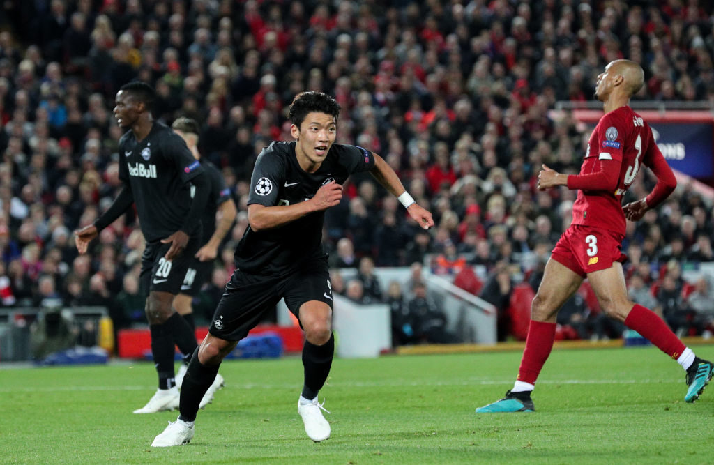 Hee-Chan Hwang celebrates his Anfield goal.