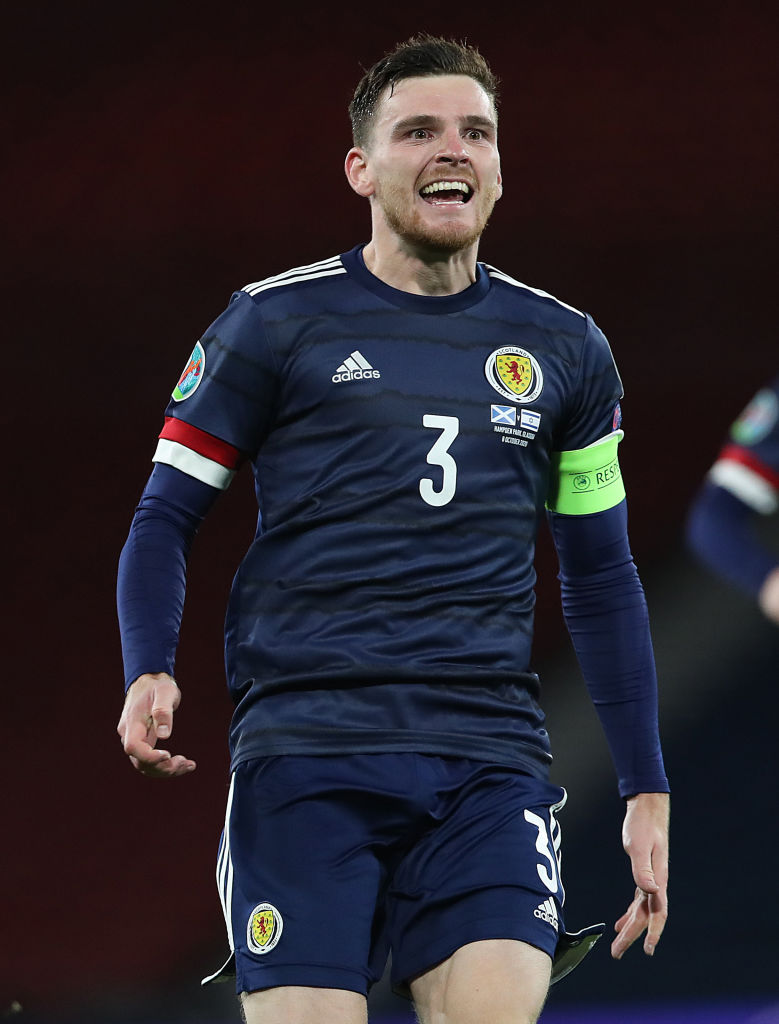 Andy Robertson has picked up a Scotland suspension