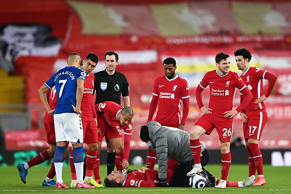 FBL-ENG-PR-LIVERPOOL-EVERTON - Jordan Henderson picked up an injury against Everton.