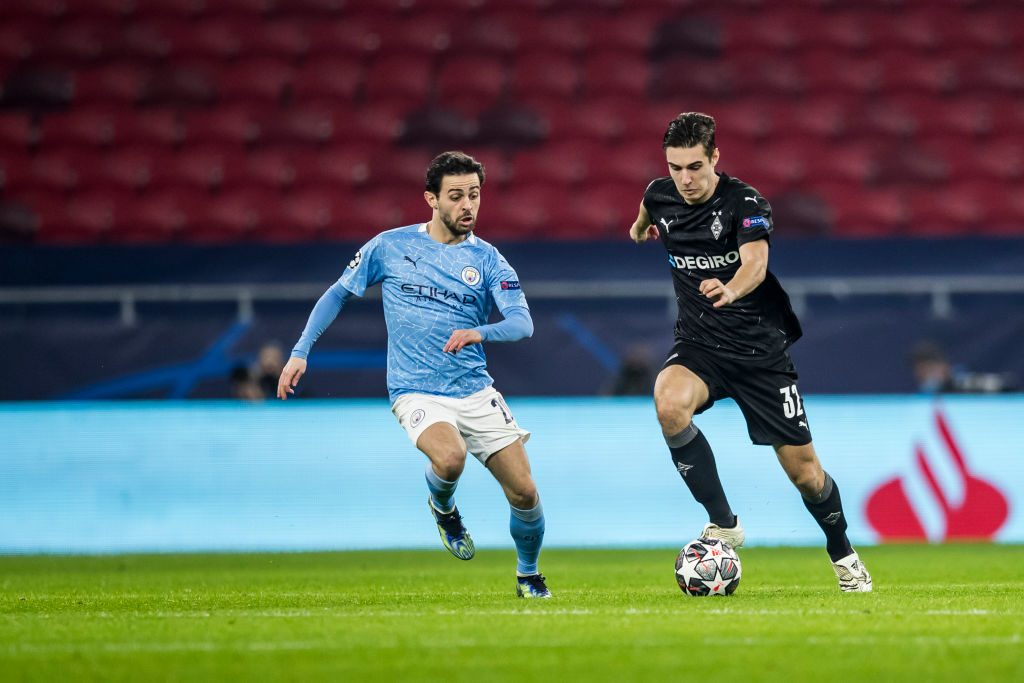 Liverpool linked Florian Neuhaus put in a strong defensive display against Man City