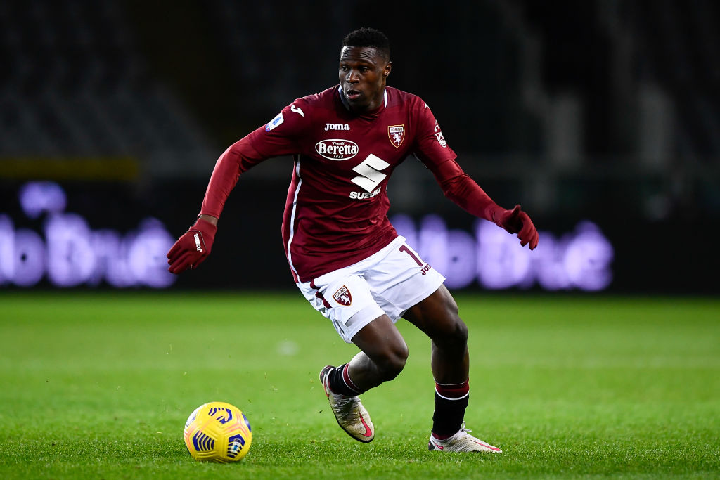 Wilfried Singo of Torino FC in action during the Serie A