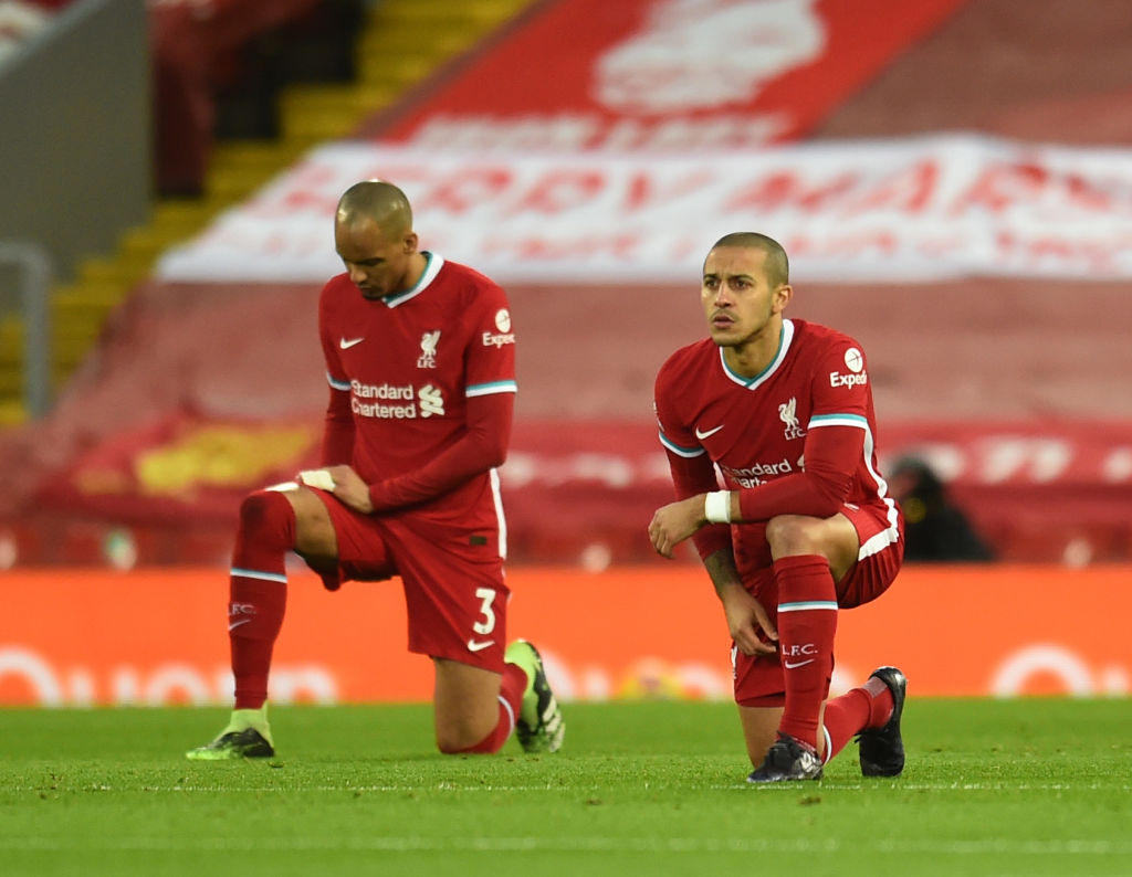 Fabinho and Thiago in the midfield together for the first time since October