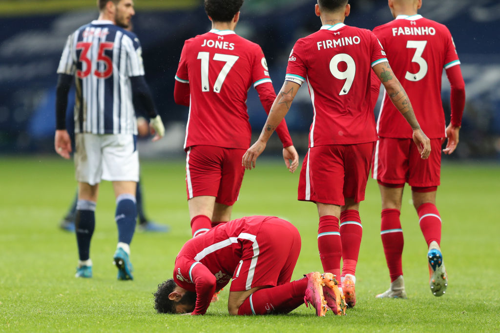 Mohamed Salah of Liverpool celebrates after scoring a goal to make it 1-1 during the Premier League match between West Bromwich Albion and Liverpool at The Hawthorns on May 16, 2021