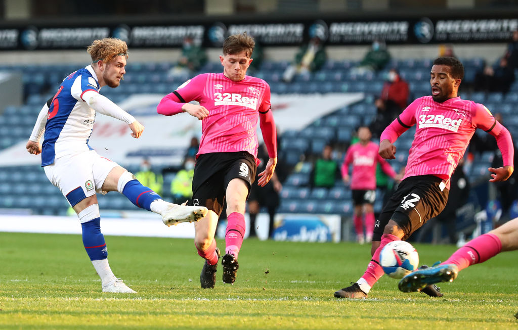 Harvey Elliott of Blackburn Rovers scores the second goal during the Sky Bet Championship match between Blackburn Rovers and Derby County at Ewood Park