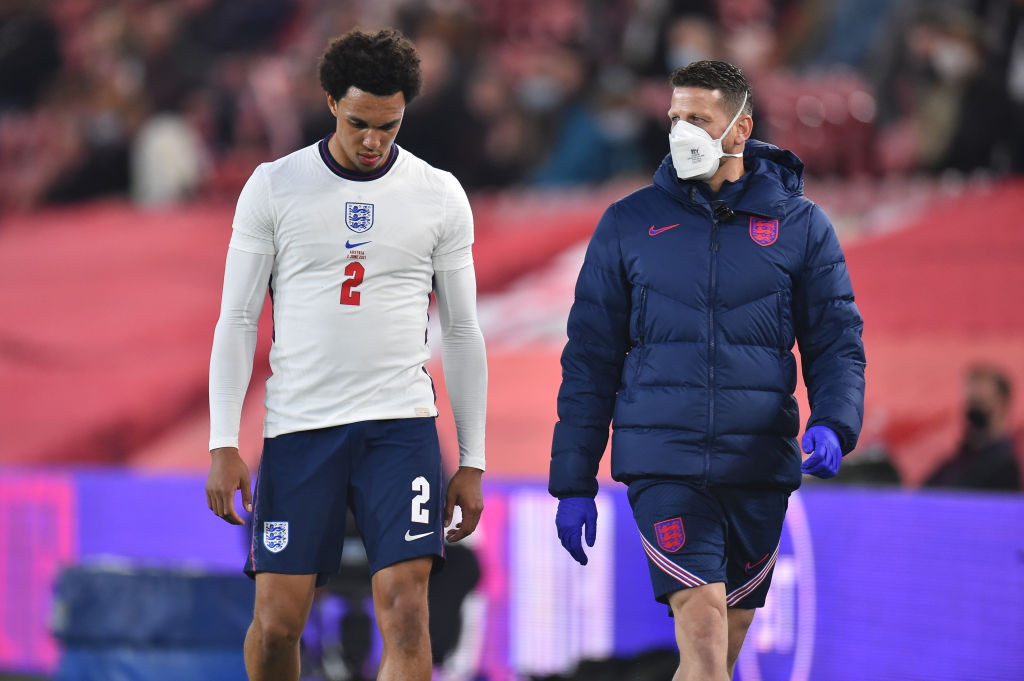 Trent Alexander-Arnold has picked up a suspected thigh injury on England duty