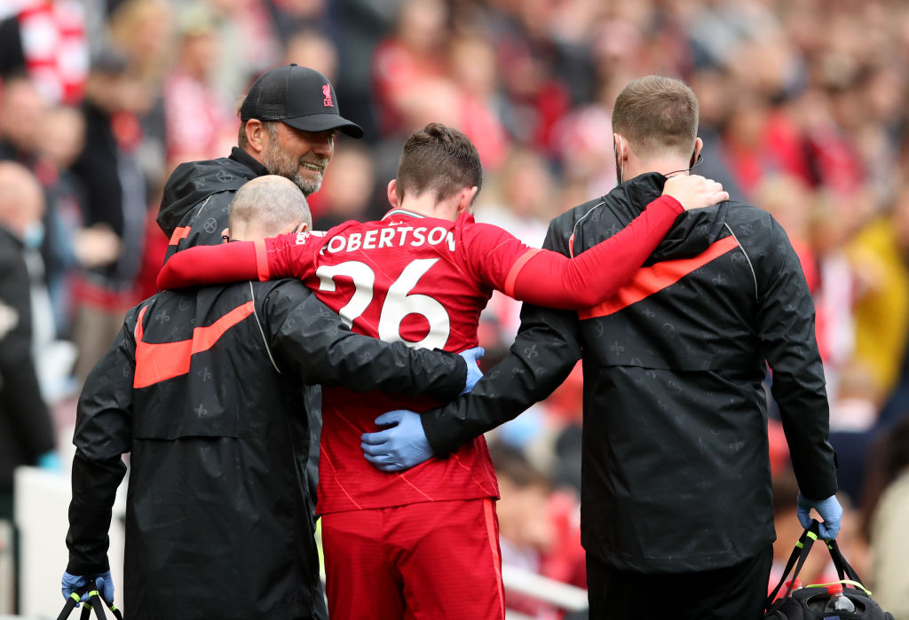 Some Liverpool fans have reacted to Andy Robertson picking up an injury yesterday