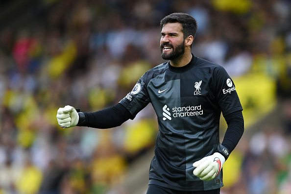 Alisson is the goalkeeper in our Liverpool vs PSG XI