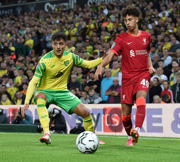 Liverpool fans have flocked to a Kaide Gordon tweet following his debut v Norwich