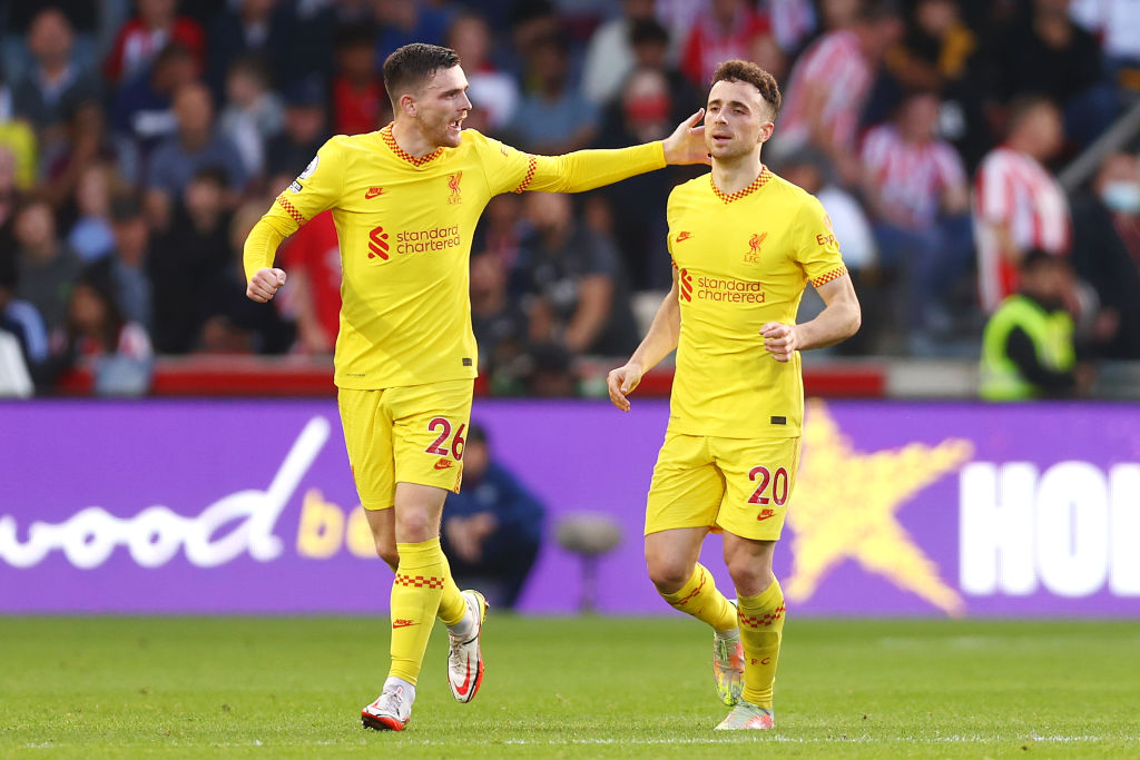 Diogo Jota scored as Liverpool drew 3-3 with Brentford.